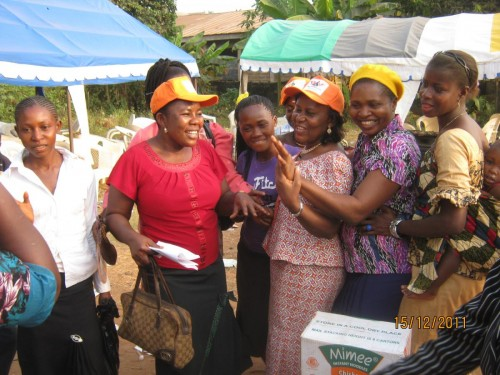 Bina foundation President with the beneficiaries during the event