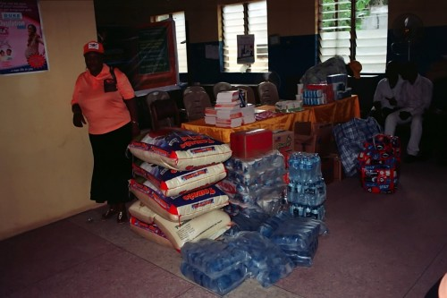 Gifts and food items donated by bina foundation to the residents
