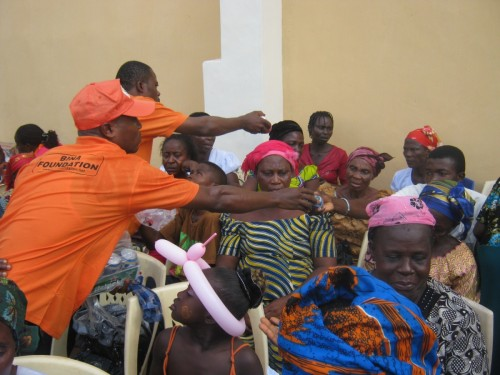 Widows receiving gifts
